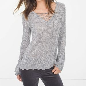 White House Black market lace up sweater SZ XS